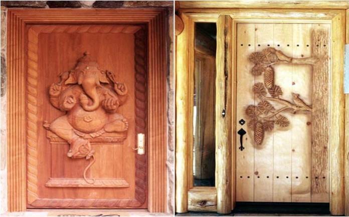 Дверь деревянная в баню с рисунком