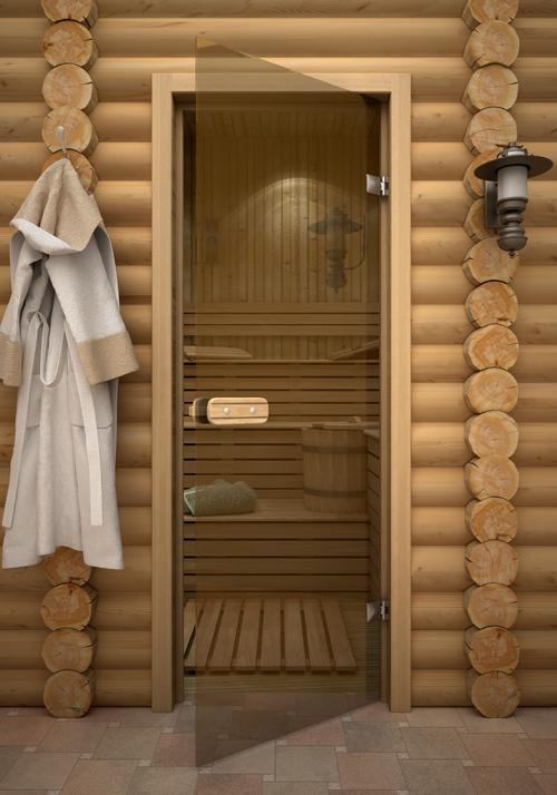 Прозрачная дверь в парилке