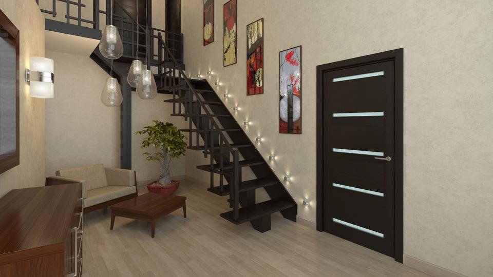 Использование двери венге в помещении в стиле минимализм