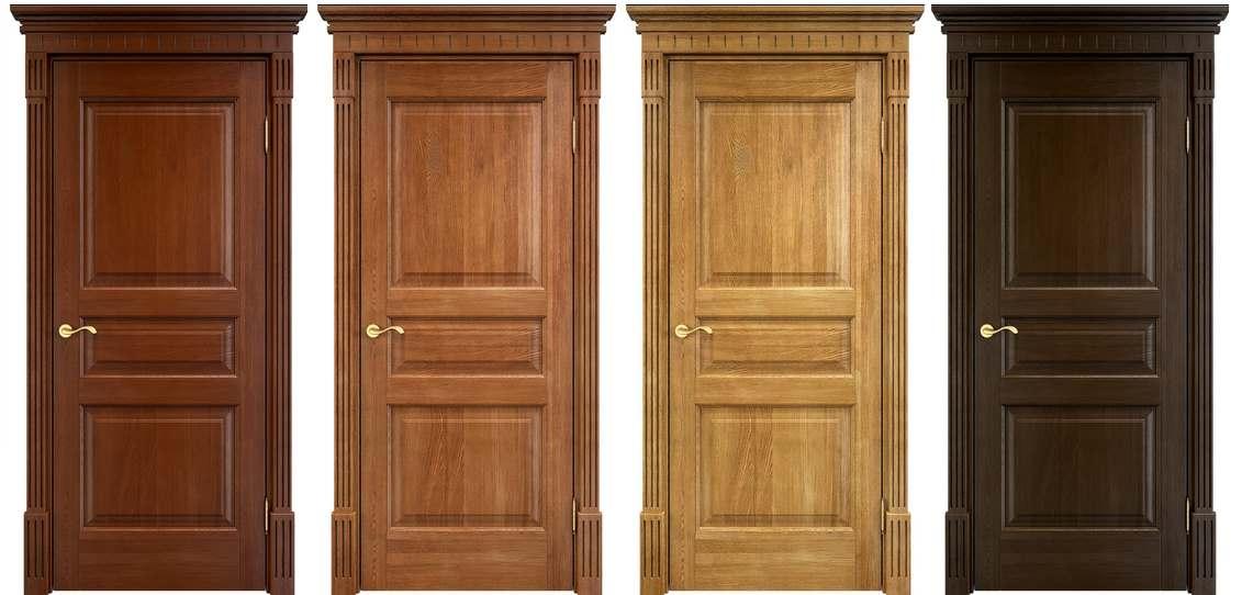 Дубовые двери различного цвета