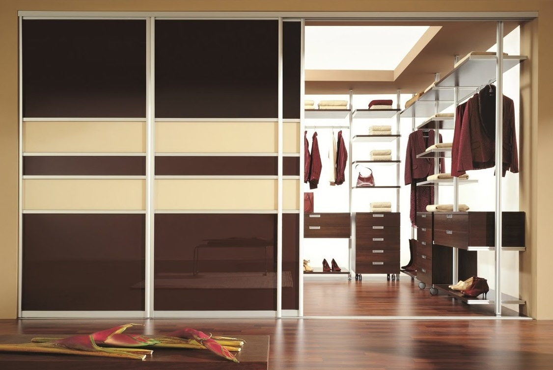 Двери для гардеробной комнаты: складные, зеркальные, навесны.