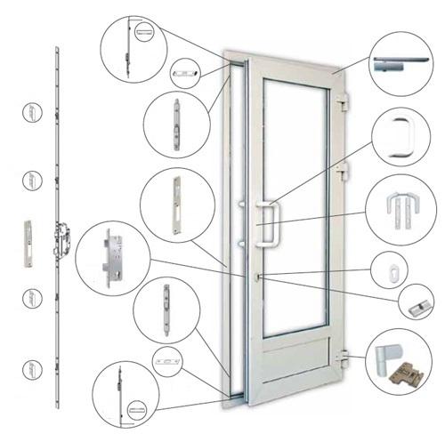 Разновидности фурнитуры для дверей из металлопластика