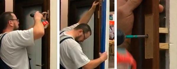 Ход монтажа коробки деревянной двери