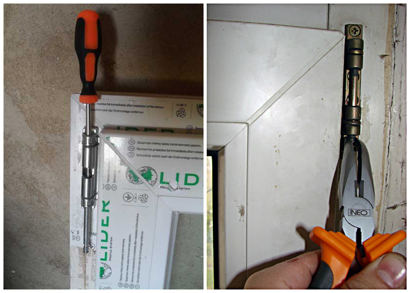 Снятие петли пластиковой двери