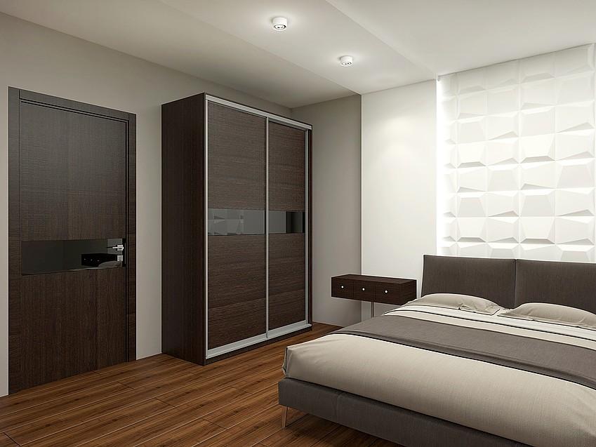 Спальня с мебелью и дверью цвета венге