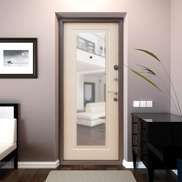 Внешний вид двери с зеркалом в прихожей