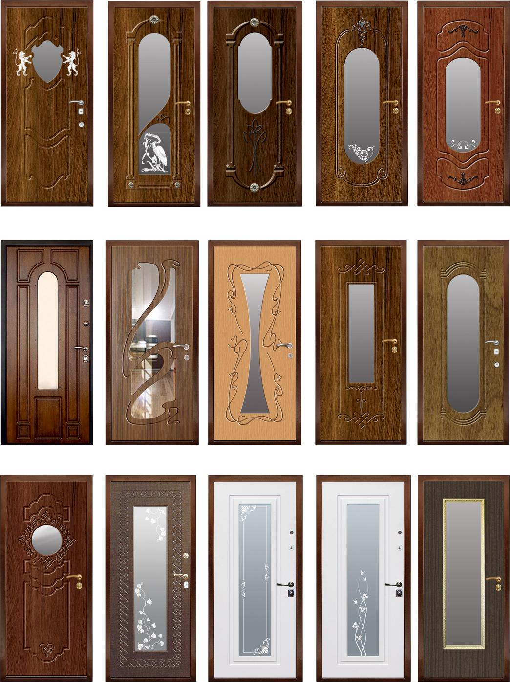 Разные виды входных дверей с зеркалом