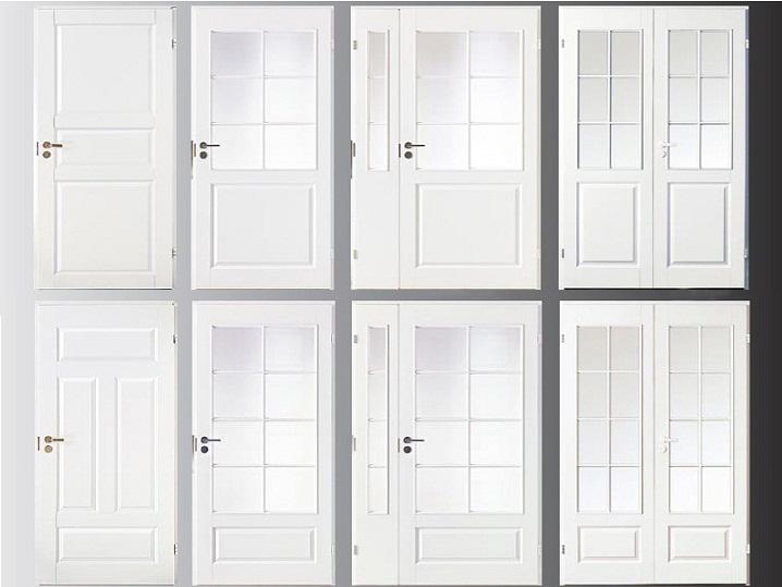 Различные модели белых дверей