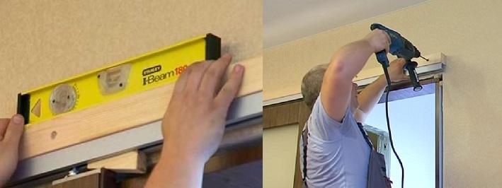 Монтаж бруса для раздвижной двери