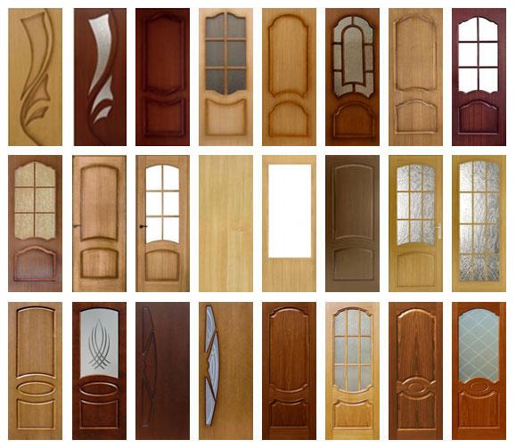 Различные двери, изготовленные из шпона