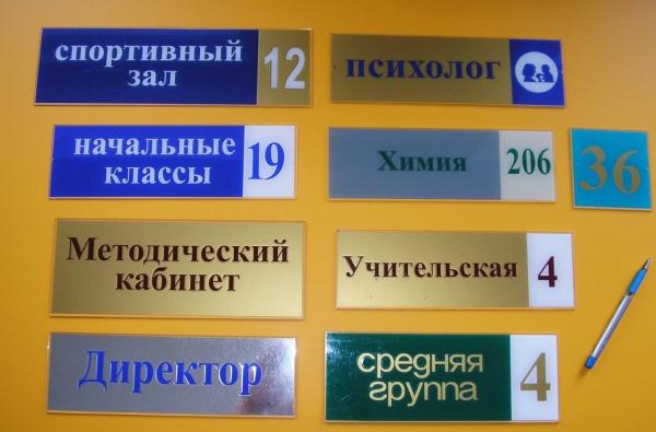Таблички на дверь из пластика