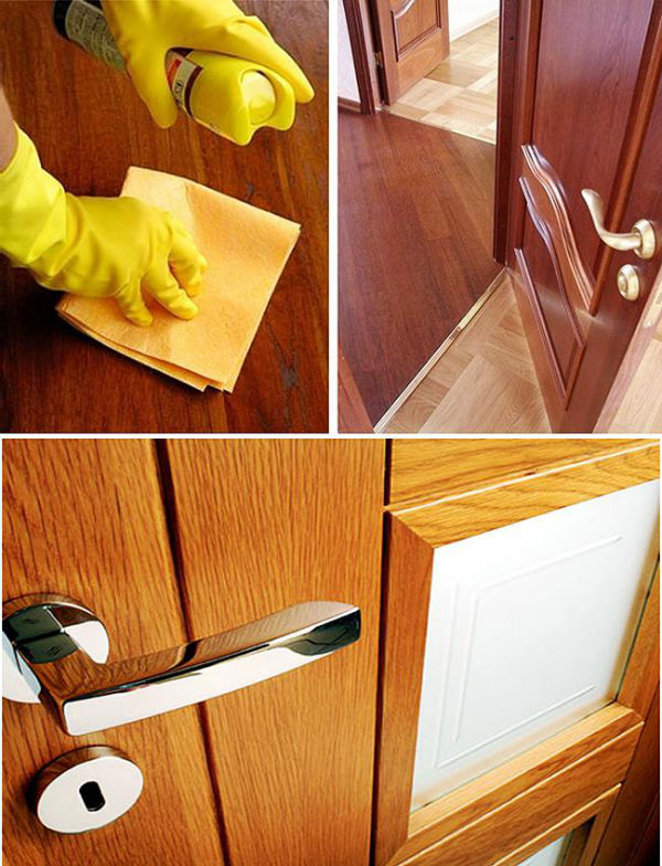 Очистка двери из шпона от загрязнений