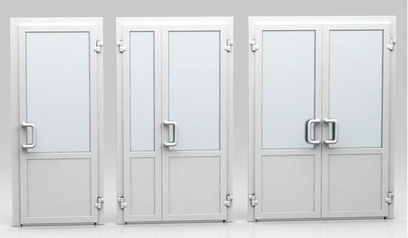 Пластиковые двери различной конфигурации