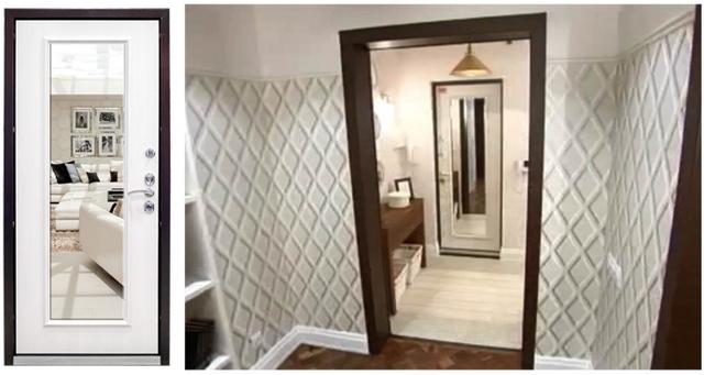 Дверь с зеркалом в коридоре
