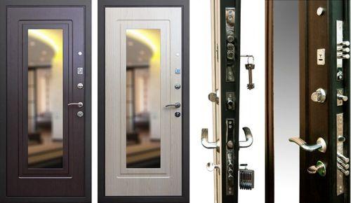 Модель металлической двери с зеркалом