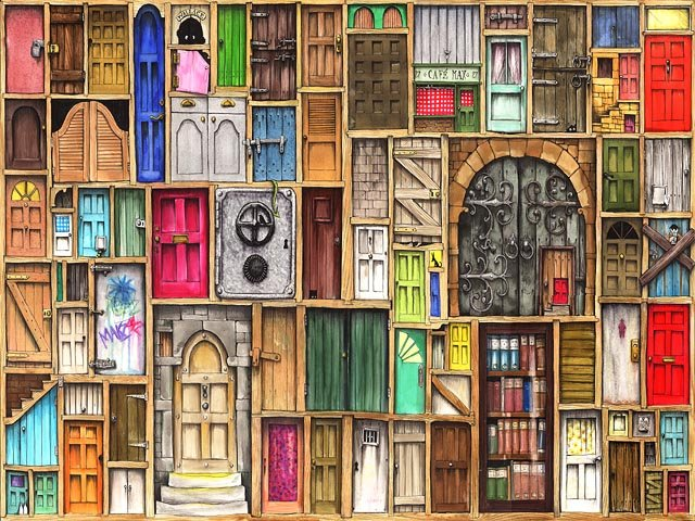 Рисунок с различными дверями