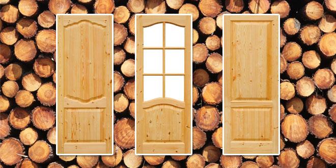 Внешний вид дверей из сосны