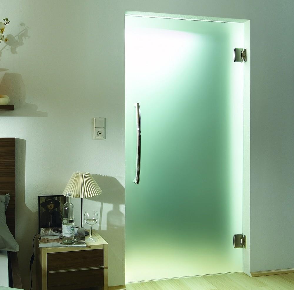 Стеклянная дверь в современном интерьере