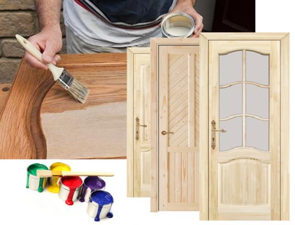 Неокрашенные двери из дерева