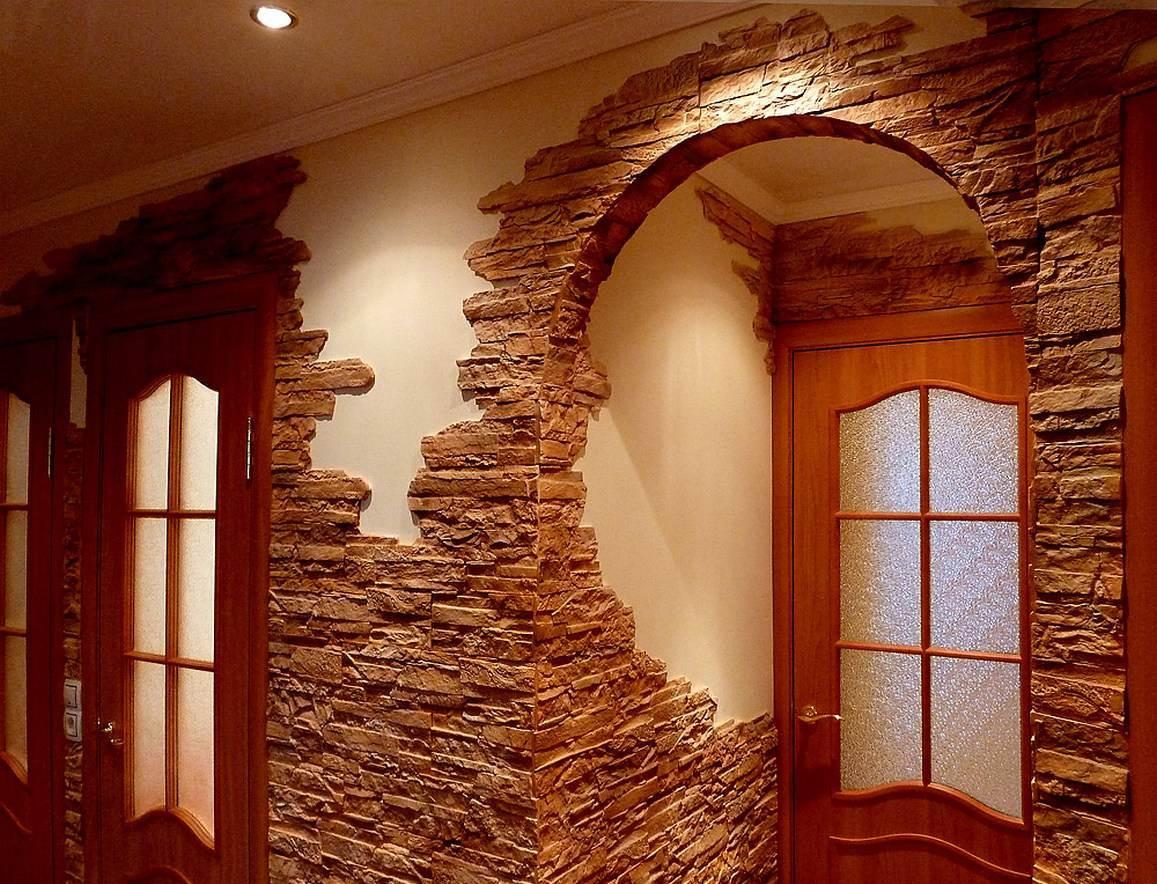 Оформление арки с помощью декоративного камня