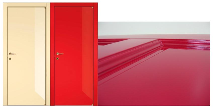Глянцевая поверхность дверных полотен
