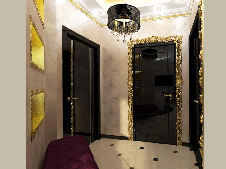 Глянцевые двери с золотым багетом
