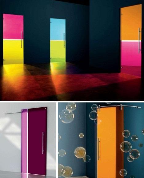 Стеклянные цветные двери