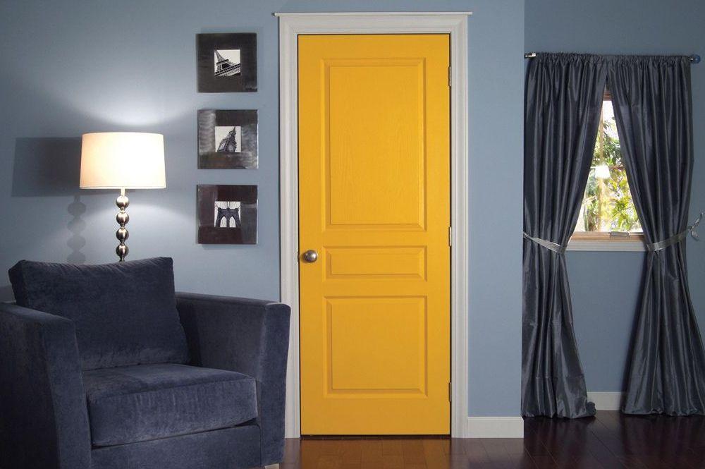 Желтая МДФ дверь
