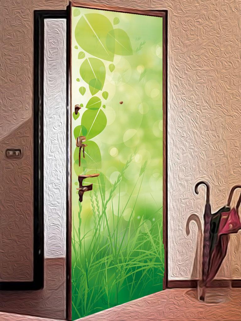 Наклейка на дверь с зеленой травой