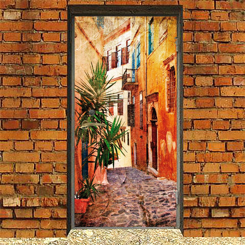 Наклейка на дверь с переулком