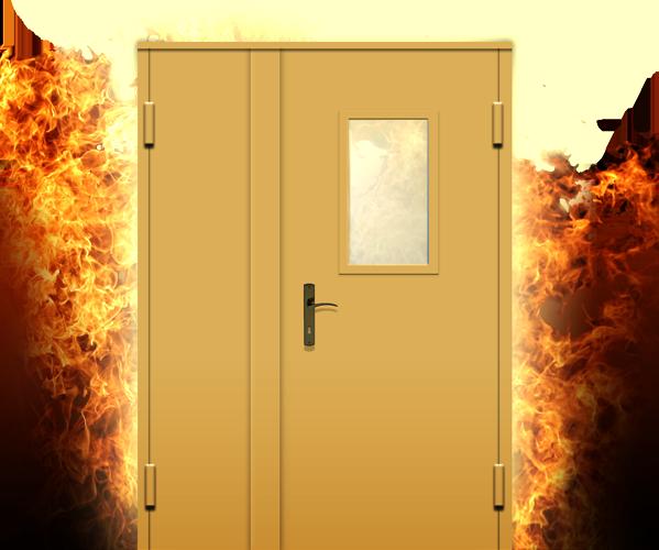 Огнеустойчивая дверь в языках пламени
