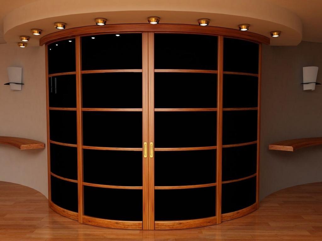 Радиусная дверь с деревянным каркасом