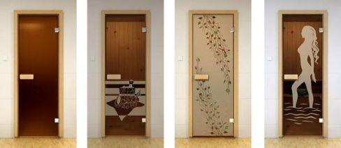 Разновидности дверей из стекла для бань