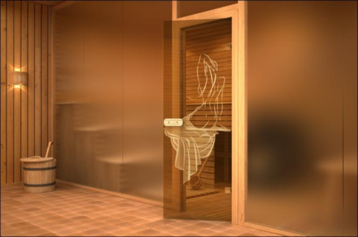 Дверь из стекла в сауне