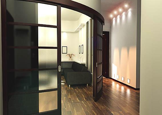 Радиусная дверь в интерьере квартиры