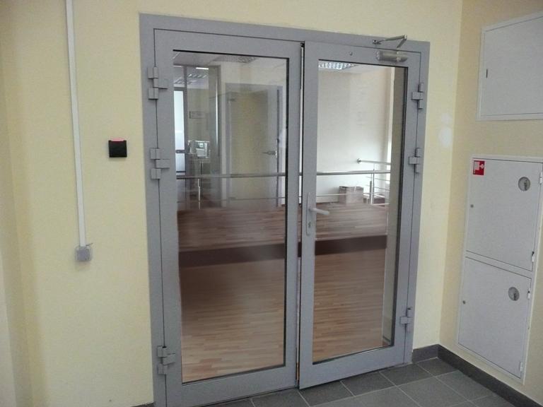 Стеклянная противопожарная дверь из алюминиевого профиля