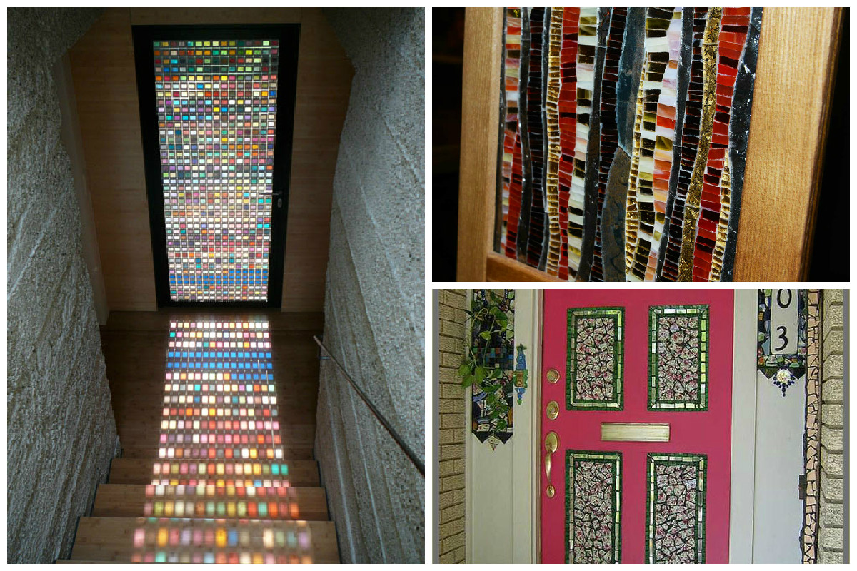 Варианты использования мозаики для декорирования дверей