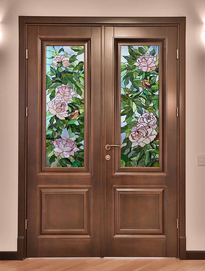 Дверь с витражом тиффани