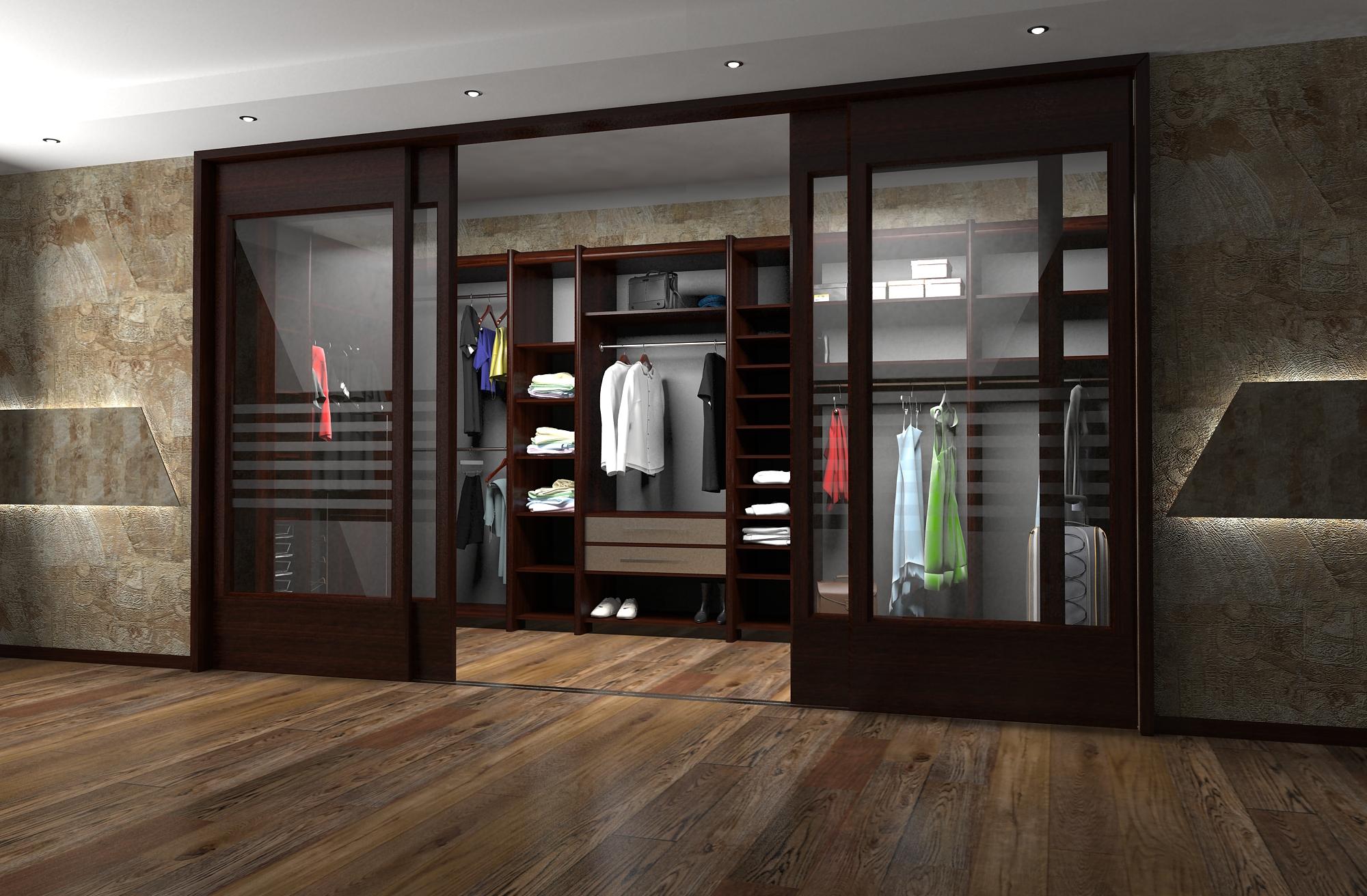 Раздвижная дверная конструкция для гардероба