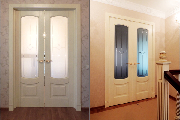Двери с матированными стеклянными вставками