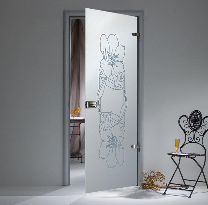 Матовая дверь из стекла с рисунком