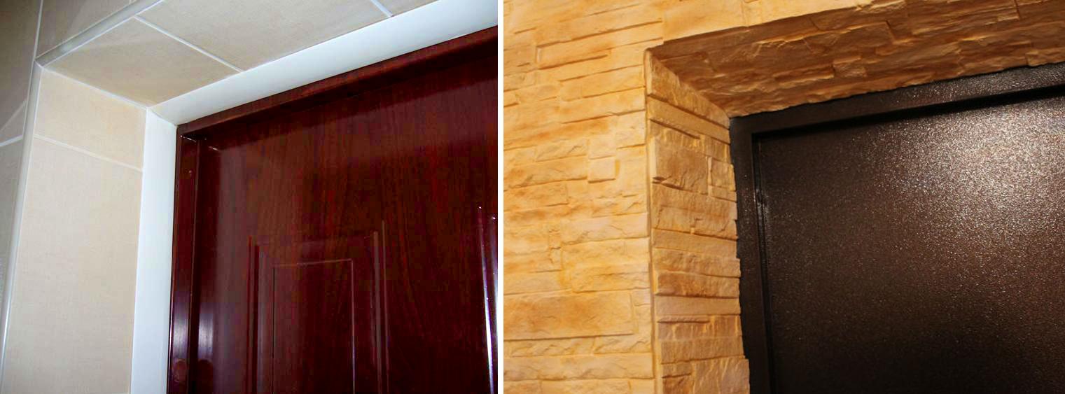 Варианты отделки проемов входной двери разными материалами