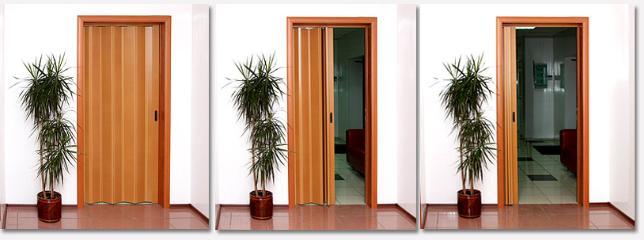 Открытие створок двери-гармошки