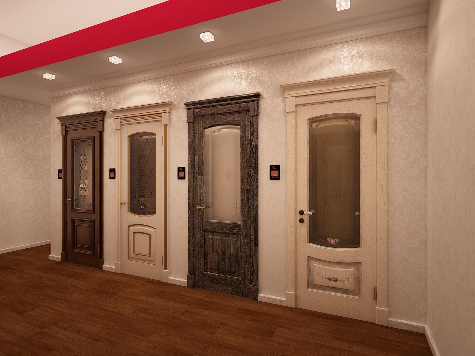 Двери из дуба в шоуруме