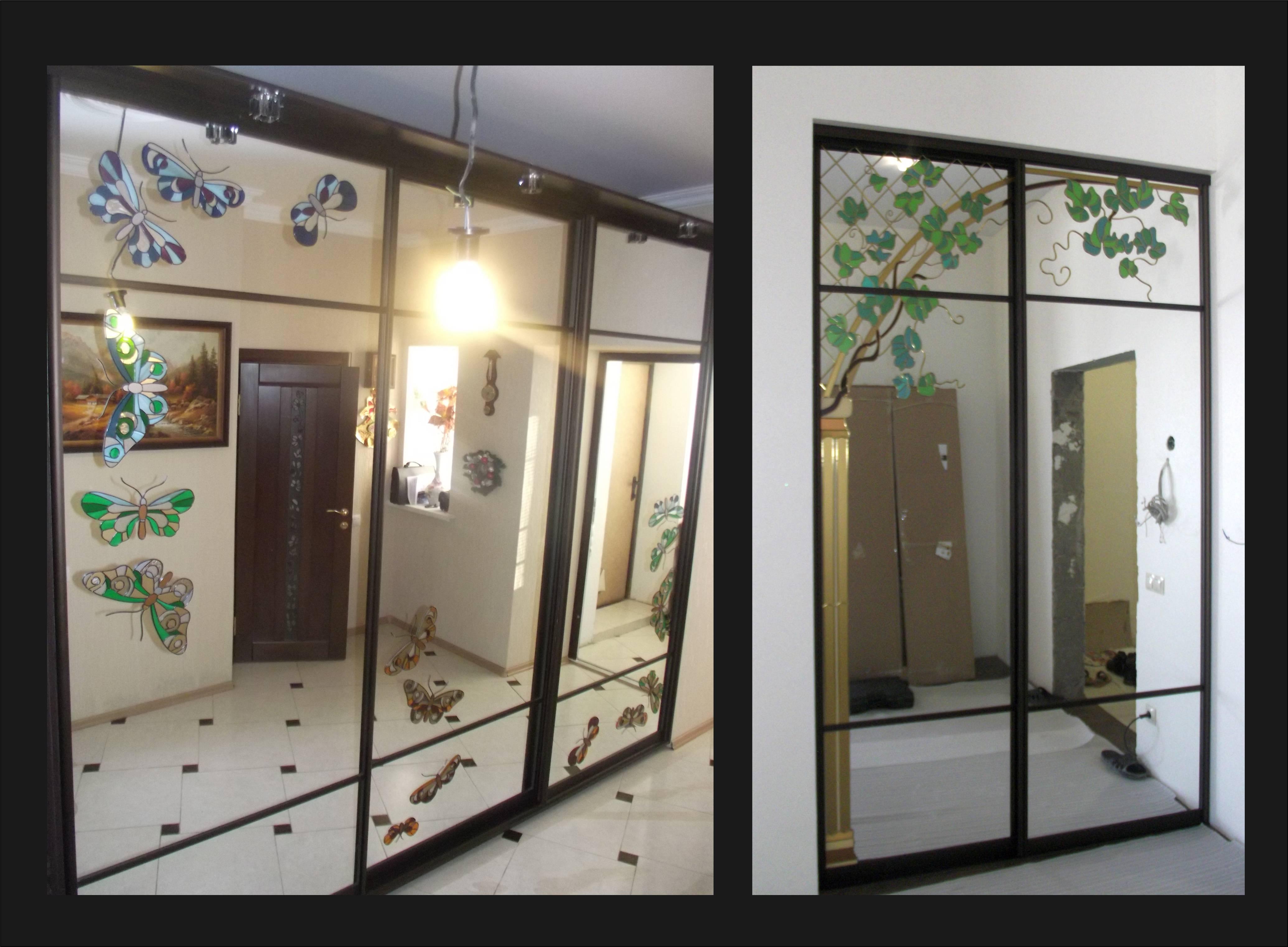 Зеркальная дверь в гардероб с рисунком