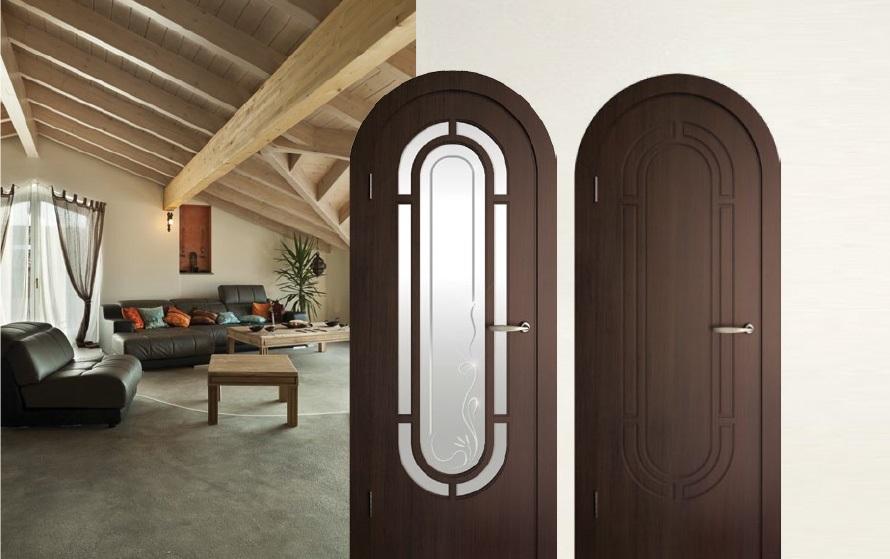 Арочная дверь с остеклением и без