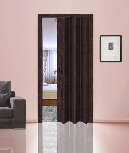 Дверь-гармошка цвета венге