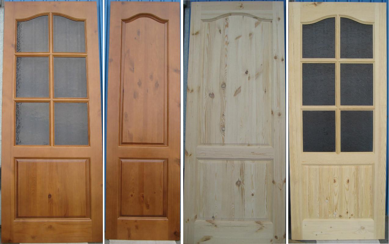 Двери из массива сосны различных оттенков