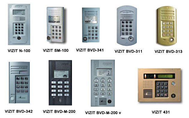 Модели домофонов Визит