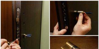 Снятие сердцевины замка двери